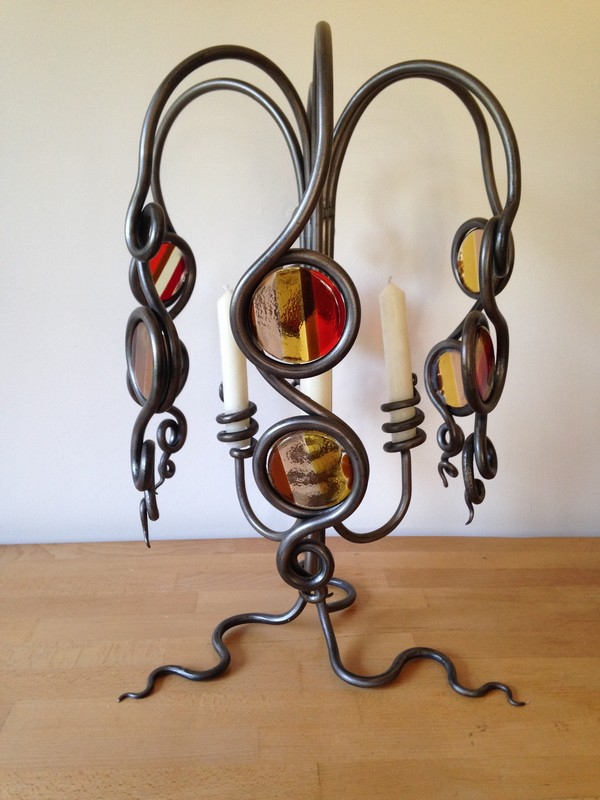 Glass & Wrought Iron Candle Holder